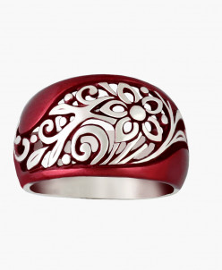 Кольцо Вологда серебро с красным нанокерамическим покрытием