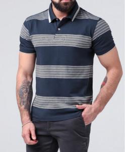 Синяя футболка поло стильного дизайна Braggart