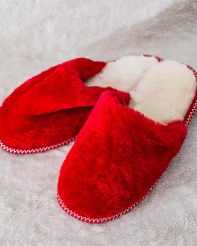 Тапочки женские без бубона Красные. 100% овчина