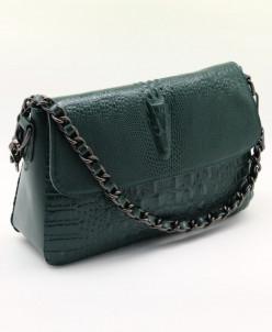Женская кожаная сумка 960 Крок-Зеленый