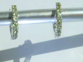 серьги-кольца (мини) серебро 925* с перидотами