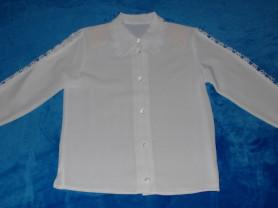 Блузка белая на пуговицах, 122-128 см