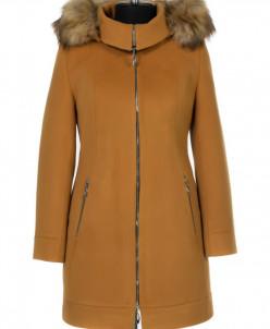 02-0462 Пальто женское утепленное Кашемир Горчичный