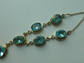 ожерелье колье серебро 925* + топазы