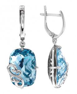 Серьги из серебра с кристаллами Swarovski родированные