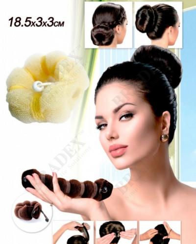 Валик для волос для создания прически «ПУЧОК» цвет блонд, 23