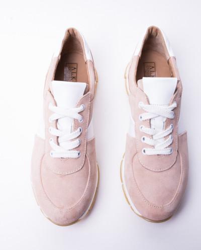 Кроссовки №374-1 пудра+белые