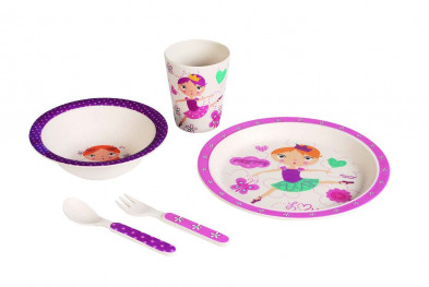 Бамбуковая детская эко-посуда Танцующая девочка 5 предм.