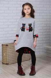 """Платье-туника для девочки """"Коты"""""""