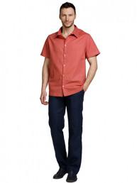 Мужские льняные рубашки БАТАЛ терракотовый