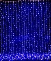 Гирлянда новогодняя водопад 560 LED 3х2,5 м (синяя)