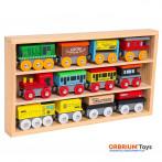 Orbrium Toys 12 Pcs Wooden Engines & Train Cars