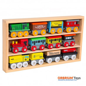 Orbrium Toys 12 Pcs Wooden Engines & Train Cars