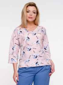 Блуза 170/1, персик/принт