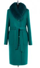 02-1733 Пальто женское утепленное (пояс) Кашемир Изумруд