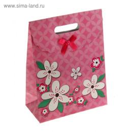 """Пакет с клапаном """"Летние цветы"""", цвет розовый"""
