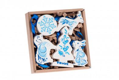 Набор елочных игрушек Зимние узоры 5 дет.