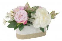 Декоративные цветы Пион и гортензии в керамической вазе