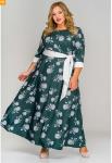 Платье длинное из крепа, принт цветы на зеленом