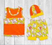 Летний детский комплект: майка, шорты и шапка