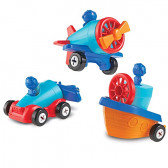 Learning Resources 1-2-3 Build it! Car, Boat, Plane, 15 Piec