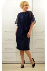 Платье с накидкой гофре Л511-3