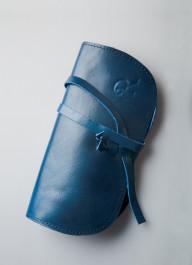 Чехол для очков 100% кожа синий, Монголия