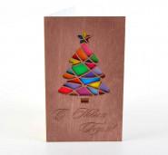 """Деревянная открытка """"С Новым Годом!"""" (ёлка разноцветная)"""