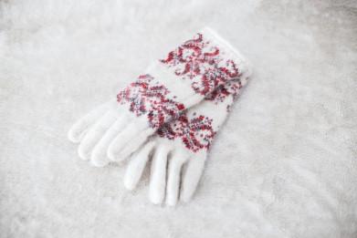 Перчатки из шерсти женские Белые. 100% овечья шерсть