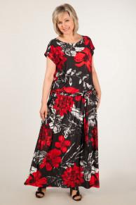 Платье Анджелина - цветы красные