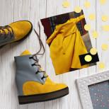 Оригинальные ботинки на скрытой танкетке. New collection