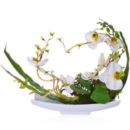 15006-NT Дек/цветы Белая орхидея в кер/вазе(х4)