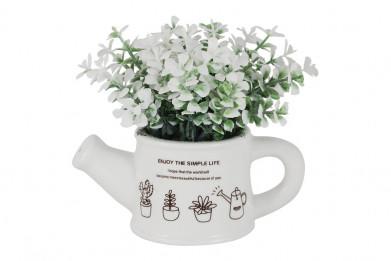 Декоративные цветы Букетик белый в лейке без инд.упаковки