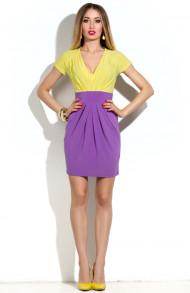 Платье-тюльпан лимон-фиолет р.48