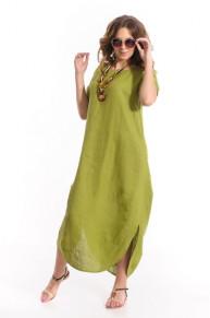 Платье 9972 из 100% льна оливка