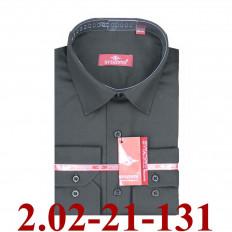 2.02-21-131 сорочка полуприт черная однотон длин