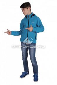 Куртка ветровка подростковая для мальчика голубого цвета 034