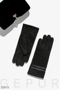 Перчатки с кожаным декором