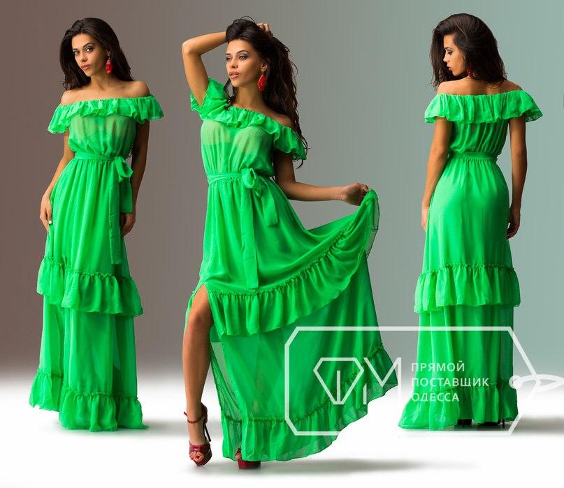 Длинное летнее платье с воланами