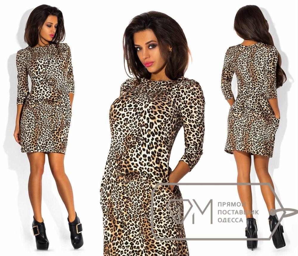 Женское леопардовое платье