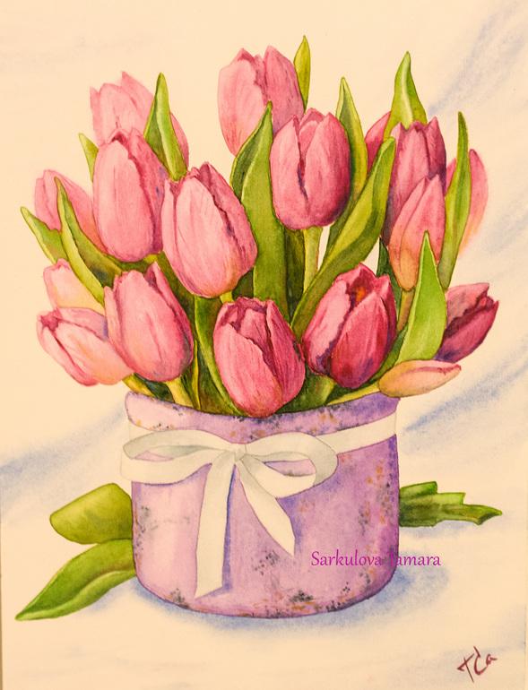 Букеты тюльпанов рисовать