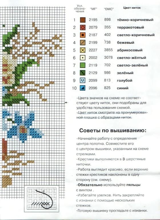 Схемы цветов для вышивки мулине 576