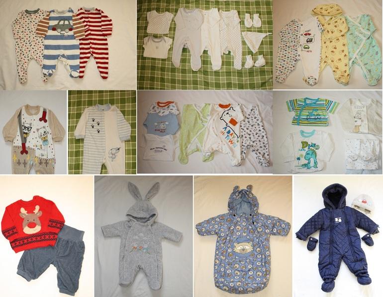 Пакет одежды для мальчика от 0 до 3-4 месяцев + теплые вещи и одежда для улицы штучно. Москва