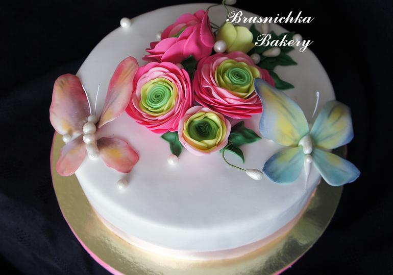 торт с бабочками и цветами фото