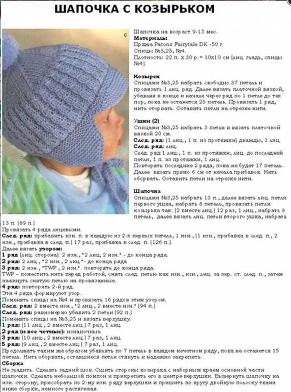 Вязание спицами для малышей-шапочки