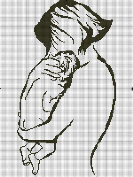 Вышивка крестом мать и дитя