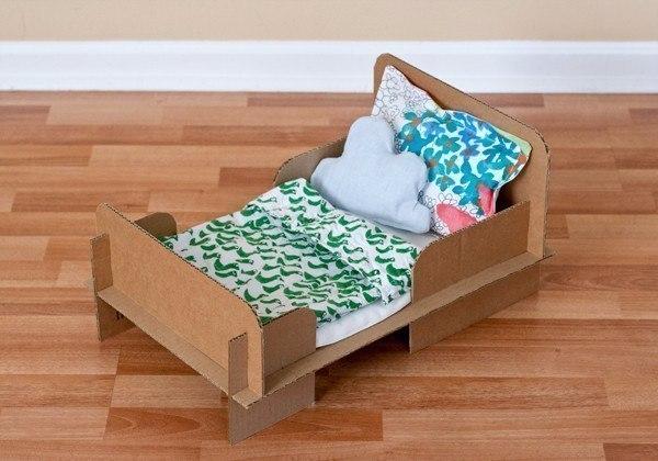 Кроватка из картона для игрушки своими руками