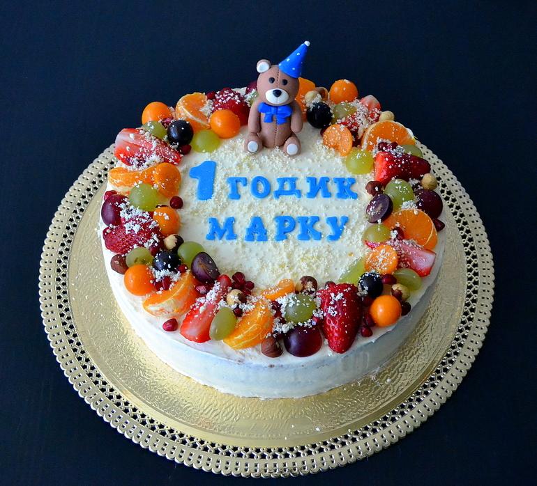 Торт на 1 годик мальчику без мастики рецепты