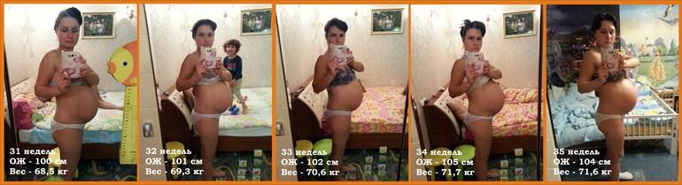 Размеры живота на 35 недели беременности