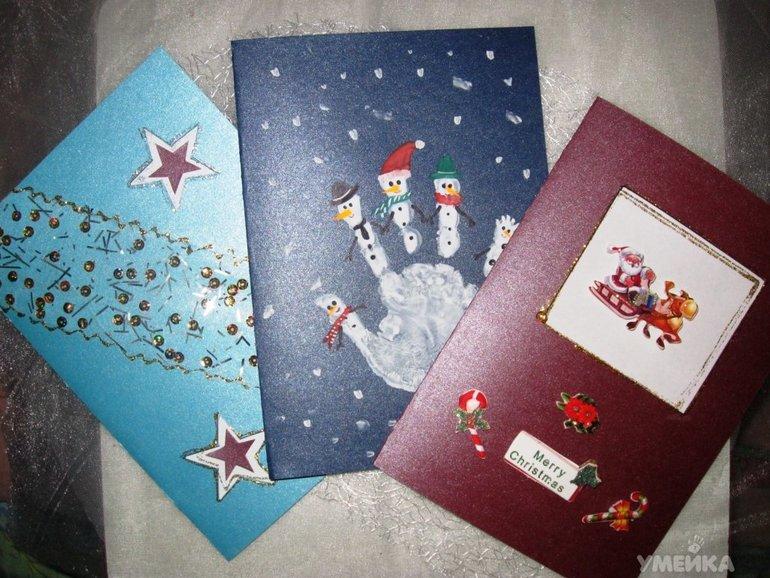 Новогодняя открытка своими руками с ребенком